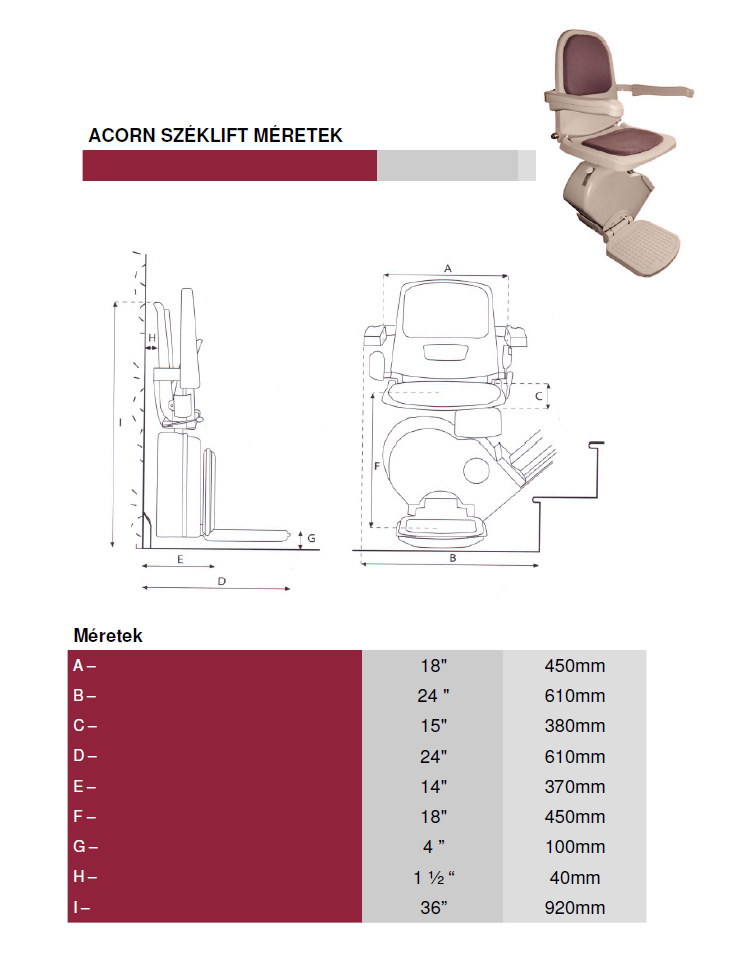 Acorn lépcsőlift műszaki rajz és méretek